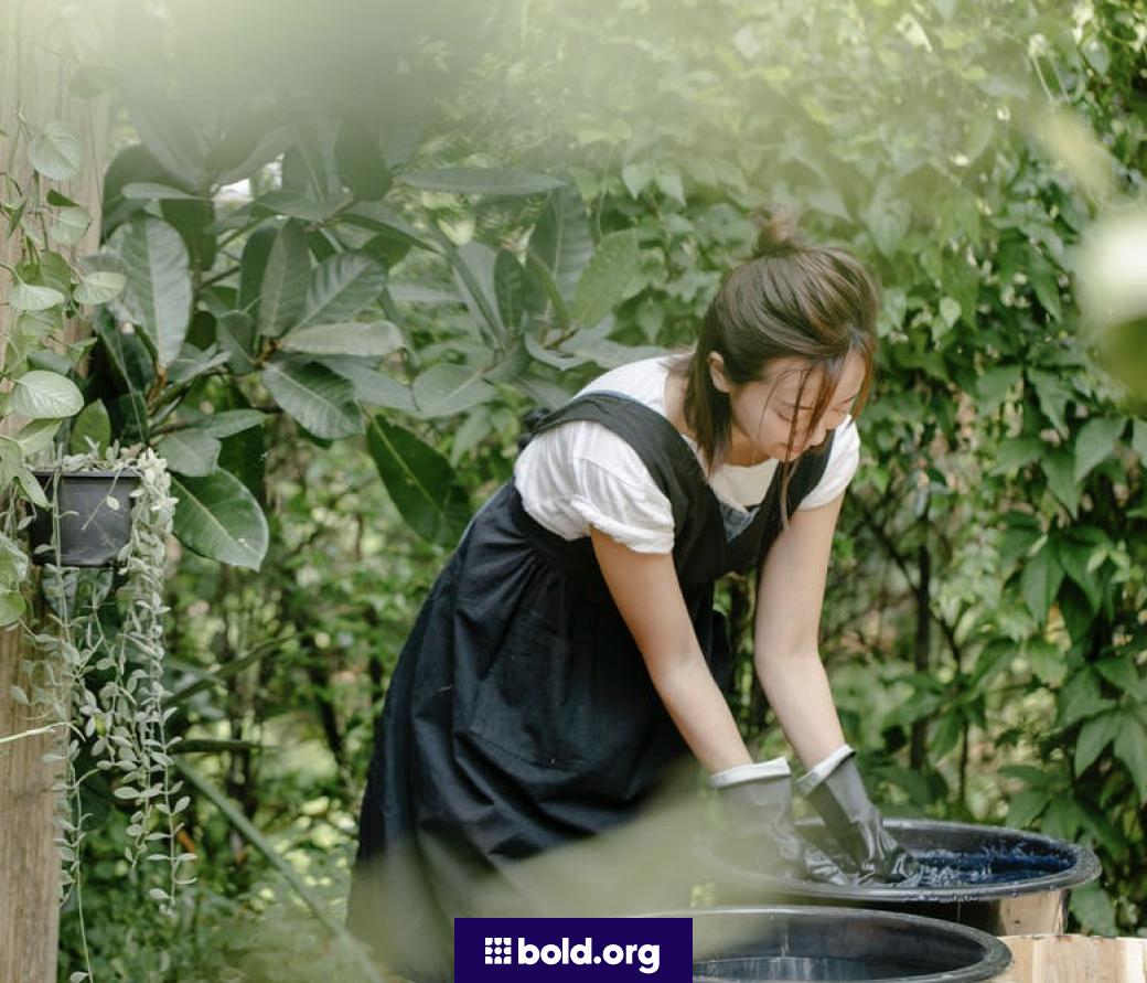 Woman working in a community garden